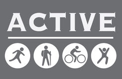 Active sign on the gray, activity icons Stock Image