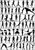 active silhouettes kvinnan Royaltyfri Foto
