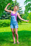 Active slim girl dancing Royalty Free Stock Photo