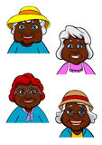 Active smiling old women cartoon characters Stock Images