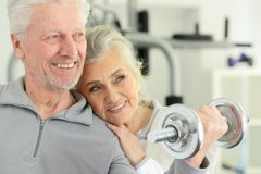 Active smiling senior couple exercising in gym. Active smiling senior couple exercising posing in gym royalty free stock photography