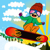 Active Snowboarder Kid Royalty Free Stock Photos