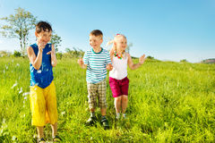 Active soaked kids. In the outdoor Royalty Free Stock Photos