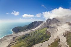 Soufriere Hills Volcano, Montserrat. The active Soufriere Hills Volcano in Montserrat seen from helicopter stock photography