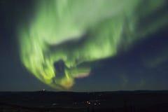 Active Splitting Aurora Borealis Arc Stock Image