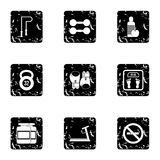 Active sport icons set, grunge style Stock Photos
