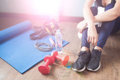 Active sport woman with fitness equipments, Working out Stock Photography