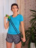 Active sportive athletic woman with jumping rope. concept fitness sport training lifestyle Stock Photos