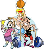 Active Sports. A group of people.Athletes: soccer, volleyball, weight-lifter.Cartoon characters Stock Photography