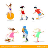 Active sports teenagers children flat web infograp Stock Photos