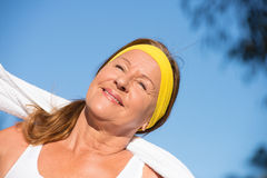 Active sporty confident mature woman outdoor Royalty Free Stock Photography