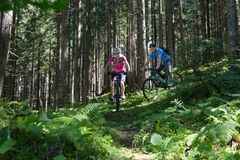 Active sporty couple riding mountain bikes on forest trail . Stock Photo