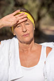 Active sporty exhausted mature woman Stock Photo