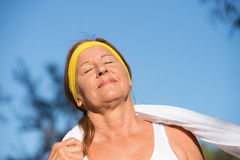Active sporty fit mature woman outdoor Royalty Free Stock Photography