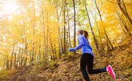 Active and sporty woman runner in autumn nature. Active and sporty woman runner is exercising in colorful autumn nature Stock Photography