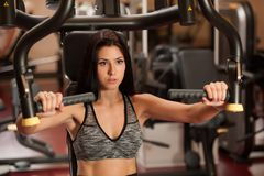 Active sporty woman workout arms in fitness club gym.  Stock Photo