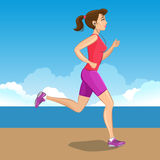 Active sporty young jogging woman, loss weight cardio training. Stock Photos