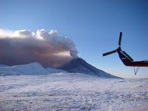 Active state of volcano Kizimen in Kamchatka royalty free stock photography