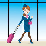 Active Stewardess Walking Stock Photo