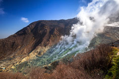 Active sulphur vents of Owakudani at Fuji volcano Royalty Free Stock Photo