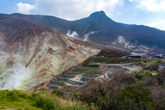 Active sulphur vents of Owakudani valley, Japan Stock Images