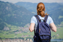 Active Tourist in the Alps Royalty Free Stock Photography