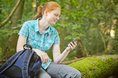 Active Tourist with GPS Navigation in a Forest Stock Photos
