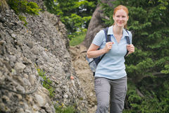Active Tourist Hiking in Summer Stock Photography