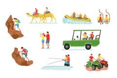 Active travel cartoon vector illustrations set stock illustration