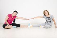 Active two women training stock photo