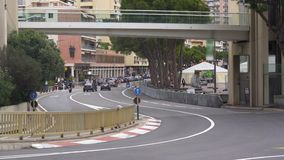 Active urban traffic on Circuit de Monaco road, Formula One Grand Prix venue. Stock footage stock video footage