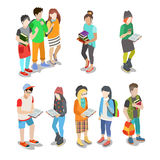 Active urban young student casual street people fl. At 3d isometric web infographic friendship concept vector icon set. Creative people collection stock illustration