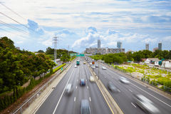 Active vehicular traffic on urban highway. S - day Royalty Free Stock Photo