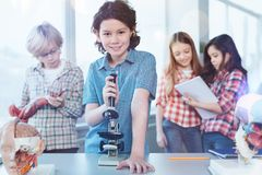 Active vibrant students studying biology in class Royalty Free Stock Photo