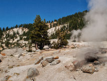 Active, volcanic area in mountain valley Royalty Free Stock Images