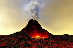 Active Volcano. An active volcano spews out hot red lava and smoke Stock Image