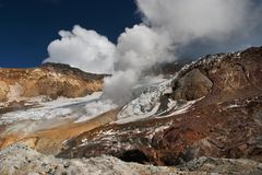 Active volcano. Inside crater of active volcano Stock Photo