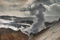 Active volcano. Inside crater of active volcano Stock Photography