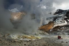 Active volcano. Inside crater of active volcano Royalty Free Stock Image