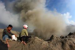 Active volcano. BROMO, INDONESIA - JULY 9: Active volcano Bromo in east Java on July 9, 2011 in Bromo, Indonesia Stock Photo
