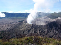 Active volcano. Fumes from active volcano bromo in indonesia royalty free stock images