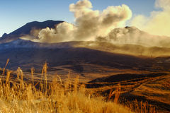 Active volcano aso mountain. In morning stock images