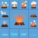 Concept of Active Volcano and Geyser in Action. Active volcano and blue geyser in action set of  icons. Splash of hot lava, flowing magma, discarded steam under Stock Photo