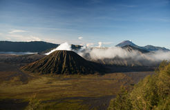 Active volcano crater with smoke, Bromo, Indonesia Royalty Free Stock Photo