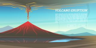 Active volcano eruption with leaky magma Background. Natural disaster or cataclysm. Blowing up in the park. Fuming lava. With smoke, ash and fire. Mountain Stock Photo