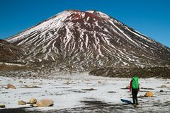 Back view of the person- traveler hiking and tramping with backpack in New Zealand`s mountains, walking toward huge volcano royalty free stock photos