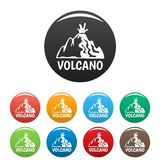 Active volcano icons set color stock illustration
