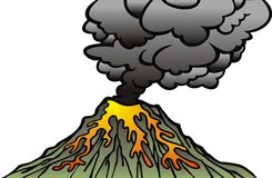 Active volcano isolated. On the white background Stock Photo
