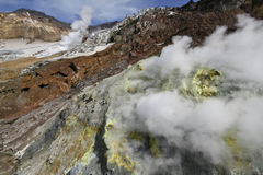 Active volcano multiple sulphur sources Royalty Free Stock Images