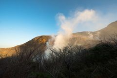 Active Volcano, Sulfr Gas, Vent. A sulfur gas vent spews gases and toxic gas at an active volcano royalty free stock photography
